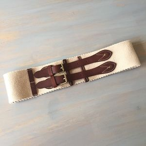 J. Crew Wide Elastic and Leather Belt Size Small